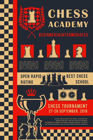 Chess academy poster of chess on chessboard for open tournament or school. Vector design of king, queen or rook with knight or bishop and pawn for sport team championship