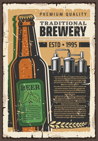 Premium brewery or beer production factory retro poster for brewing company. Vector vintage design of traditional beer bottle with hop leaf, malt and quality star