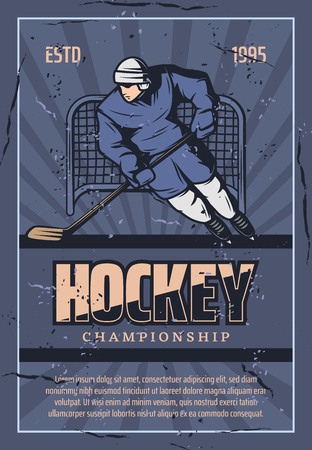 Hockey championship retro poster or player man or goalkeeper with hockey stick and puck at gates on ice rink arena. Vector vintage blue grunge design for college sport league tournament
