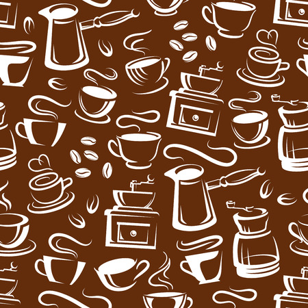Brown steaming coffee pattern. Vector seamless background of coffee makers and cups with steam, hot americano mug, espresso or latte and cappuccino. Coffeeshop or cafe theme design