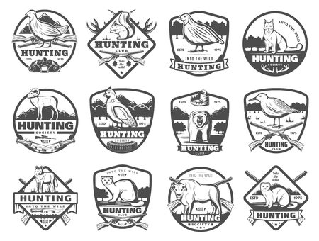 Hunter club or open season hunting society badges. Vector icons of wild animals and birds with hunt ammo gun rifles and traps for African Safari buffalo, grouse or woodcock bird, wolf and fox or lynx