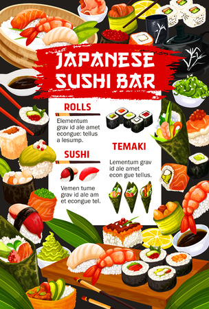 Japanese sushi bar menu for Asian cuisine restaurant. Vector Japan traditional food dishes of sashimi rolls with seafood, unagi maki and ginger or wasabi and rice with chopsticks  イラスト・ベクター素材