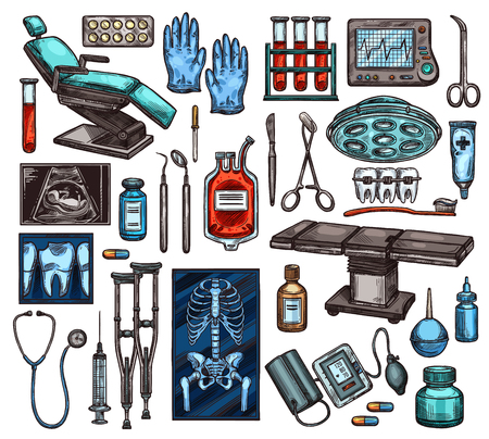 Medical equipment of hospital. Vector examination chair and gloves, blood in flasks and monitor with heartbeat, scissors and scalpel, ultrasound exam and X-ray, surgery table and braces Ilustracja