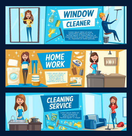 Laundry and cooking, house and window cleaning. Vector woman with domestic chores and chemical means cleaning rooms, dishes or glass. Washing machine, vacuum cleaner, iron and washing supplies