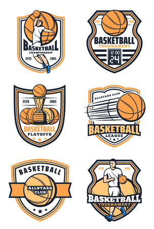 Basketball game icons with ball and player. Sporting tournament or championship. Vector player and sport game basket and shield, professional league and all stars club, playoff signs