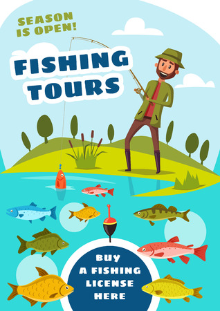 Fishing sport poster with tours for fishermen. Fisher near lake catching fish with rod and bait, salmon and trout, herring and perch, catfish and crucian in water. Outdoor activity on nature vector