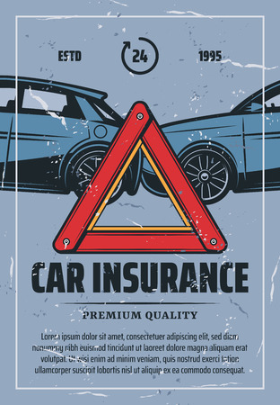 Car insurance retro poster for emergency and drive safety or responsibly. Vector vintage brochure with car crash and plastic red triangle sign for accidents on road, vehicle protection service
