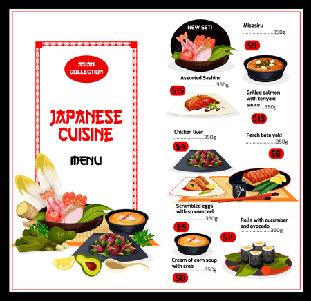 Japanese cuisine menu with fish and veggies. Vector misosiru and sashimi, salmon and chicken liver, perch bata yaki and scrambled eggs with eel, rolls with cucumber and avocado, cream soup with crab