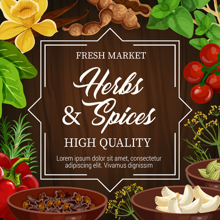 Herbs and spices, farm market store or seasonings shop. Vector vanilla and bay leaf, basil and cherry tomato, dill and garlic, bell pepper and clove. Condiments and flavorings for cooking