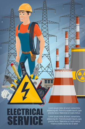 Electrical service and electricity repair work. Vector electrician holding wire nea power plants. Pliers and plug, measurement devices and light bulb. Screwdriver and tension sign