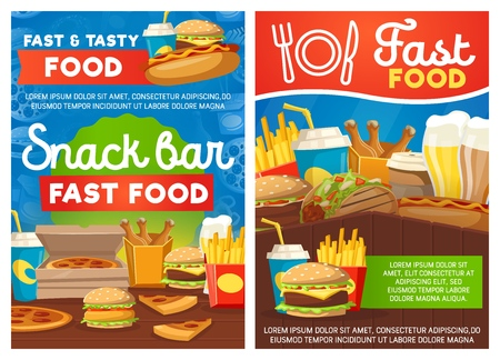 Fast food and snack bar, vector. Burgers, pizza and french fries and chicken drumsticks. Vector street food, soda drink or coffee and beer. Fastfood cafe or restaurant meals and dishes