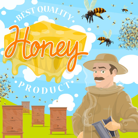 Beekeeping farm, apiary and beekeeper. Man in protective suit and beehive with bees swarm flying around on beekeeping farm. Natural rural product with healthy propolis Ilustração