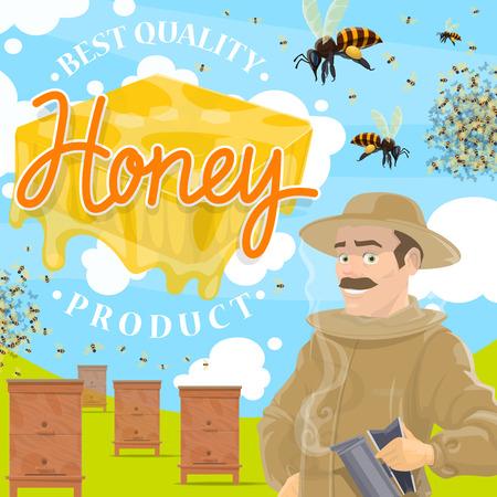Ferme apicole, rucher et apiculteur. Homme en tenue de protection et ruche avec des essaims d'abeilles volant autour de la ferme apicole. Produit rural naturel à la propolis saine
