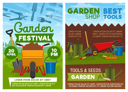 Gardening tools and equipment, agriculture or horticulture. Vector wheelbarrow with soil and spade, pruner and shovel, watering can and hose with sprayer, bucket and rake behind fence on grass