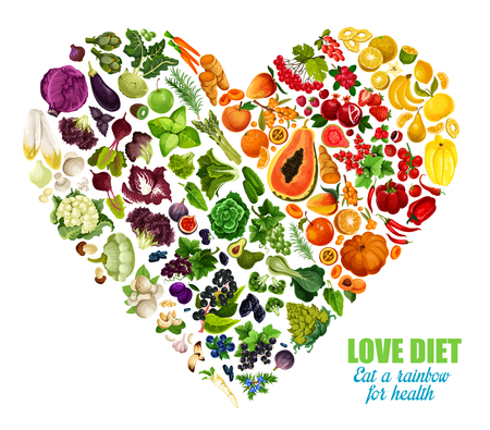Color detox diet of vegetables and fruits, vector heart shape. Motto eat rainbow for health. Benefits of eating groceries, healthy organic food products. Nutrition dieting consumption