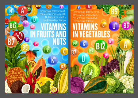 Healthy life with vitamins A, B, D, K and minerals. Fruits and vegetables with medical vitamin pills. Vector papaya and coconut, pineapple and cabbage, cauliflower and salad, orange and banana, peach Ilustração