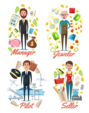 Professions and workers with work related icons. Vector manager with money and credit, jeweler with rings and necklaces, pilot with plane and airport. Seller with grocery products and cash