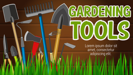 Gardening tools banner with agriculture equipment for garden market. Shovel and rake, spade and scissors, secateur and pruner, axe and hoe on grass. Horticulture items to work with plants vector