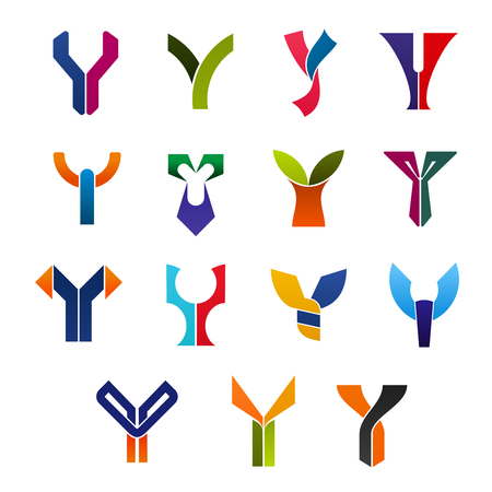 Letter Y abstract isolated vector symbols and icons. Alphabetic icons of unusual forms in bright colors for products or services, badges or signs with curves and swirls Çizim