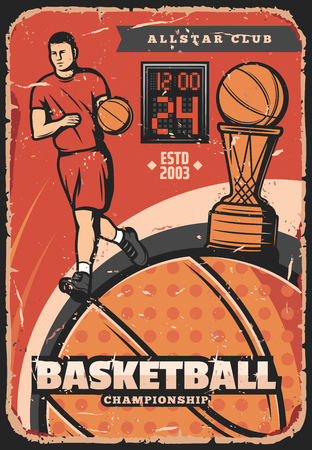 Basketball game retro poster. Vector player and ball in basket. Vintage sport championship or tournament poster design. Running sportsman in sportswear, shabby leaflet