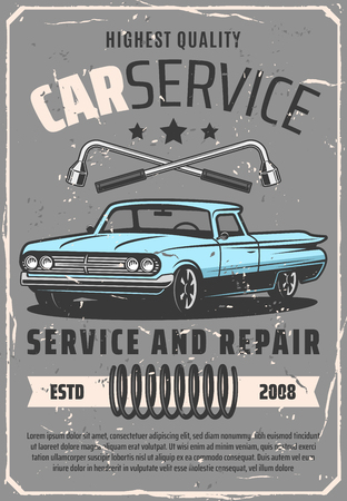 Car repair service vintage poster, vehicle shop or mechanic repair garage station. Vector retro car, spanners and vehicle spring. Mechanism diagnostics, spare parts and garage station