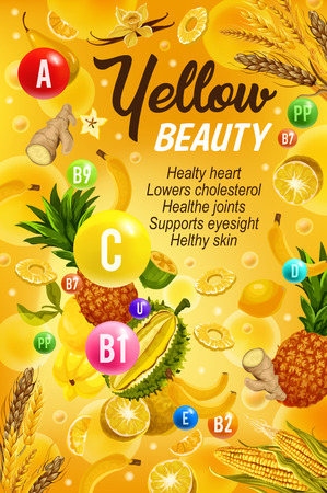 Vitamins A, B, C and minerals, healthy lifestyle and beauty poster of color diet yellow day. Vector fruits and vegetables, ginger, wheat and pineapple, grocery veggies for rising immunity