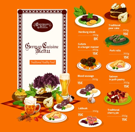 German cuisine menu, meat and vegetable dishes. Vector pear cake and Hamburg steak, cutlets in burger manner and pork rolls, blood sausage and salmon in puth pastry, labbusk and cherry pie Illustration
