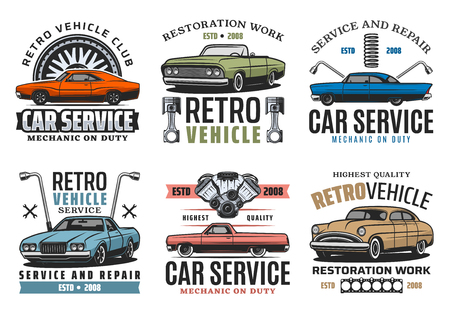 Car service and tuning or restoration work vector retro icons, repairing garage. Vehicle, transport and spare parts, spanners and wrenches. Wheel change and fix, mechanic on duty