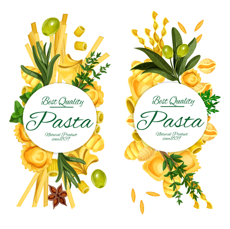 Pasta vector banners, restaurant menu with cuisine from Italy. Vector spaghetti, mafaldine and conchiglie, ditalini rigati and ravioli, orzo and rocchetti with olives and seasonings