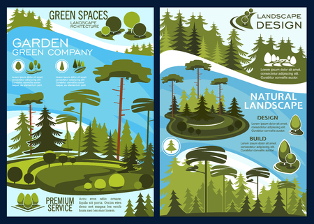 Landscape and garden design, vector green space. Planting trees and thick bushes on neat lawns and meadows in city parks and reserved forests with river. Ecology protection project