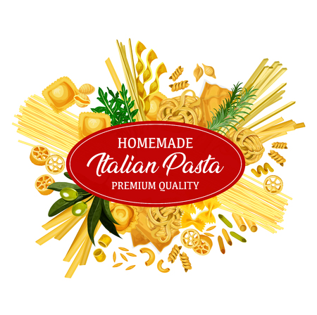 Italian pasta product, vector banner. Macaroni and spaghetti, fusilli and farfalle, ruote and ravioli, cornetti rigati, olive and rosemary greenery. Main cuisine garnish, homemade food