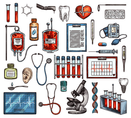 Medical diagnostics and laboratory equipment, vector sketch icons. Stethoscope and microscope, pill and syringe, blood test and bags, x-ray and heart. DNA and tooth, pressure measuring equipment