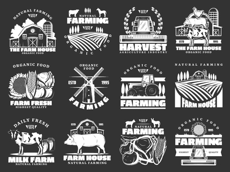 Farm and farming monochrome vector icons, harvest and animals. Organic food and meat, milk and cattle farm. Field and barn, sunflower and vegetables, pig and cow, poultry and tractor Ilustracja