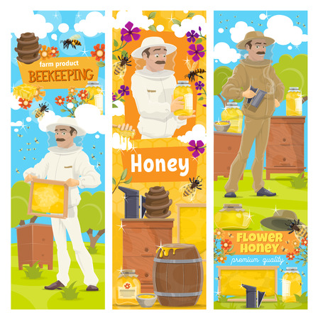 Vector beekeeping banners, apiary and beekeeper in protective suit. Man with honeycomb taking honey from beehive or holding jar of organic honey. Bees swarm flying around flowers on beekeeping farm