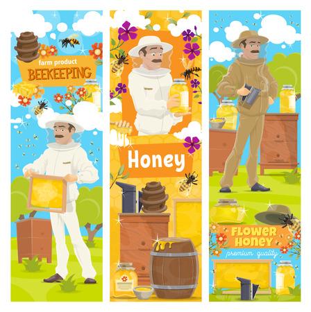 Vector de banderas de apicultura, colmenar y apicultor en traje protector. Hombre con panal tomando miel de colmena o sosteniendo un tarro de miel orgánica. Enjambre de abejas volando alrededor de las flores en la granja de apicultura