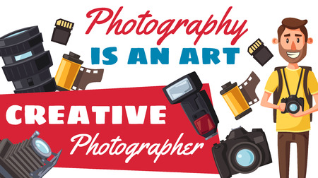 Photographer creative profession and photography. Vector photojournalist with digital camera and professional photo equipment. Lens and flash, photo film roll and memory card vector Archivio Fotografico - 111205522