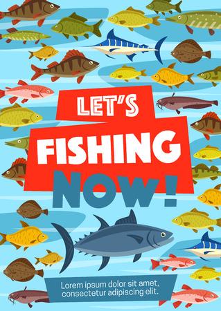 Angelsportplakat mit Meeres- und Flussfischen. Karpfen und Thunfisch, Makrele und Hecht, Lachs und Hering, Forelle und Marlin. Karausche und Hecht, Seenadeln im Wasser auf Fischereigeschäft oder Laden