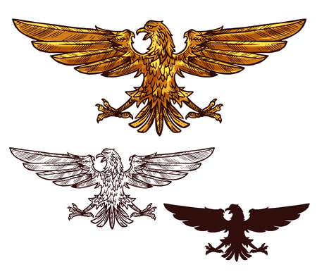Eagle victory and power heraldic element. Heraldry gold sign and black silhouette. Mythical bird or griffin with spread wings and sharp claws as symbol of strength, isolated vector