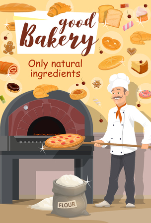 Baker putting shovel with pizza in stove, bakery and pastry shop. Vector wheat flour sack and bread loafs, roll and cupcake. Croissant and dough, gingerbread cookie and pretzel, doughnut and waffle, marmalade