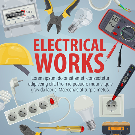 Electrical works. Vector pliers and helmet, plug and power socket, light bulb and wire, screwdriver and multimeter. Tools and equipment, work with electricity, electrician service Illustration