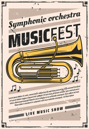 Music fest of symphonic orchestra vector retro poster with golden tuba. Musical wind instrument on vintage invitation, live classic concert. Festival of songs and melodies announcement