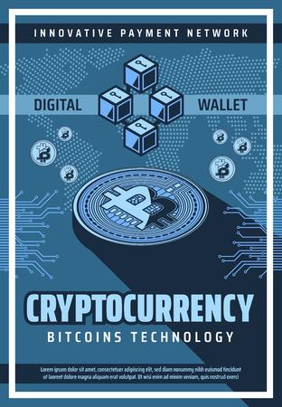 Tecnología bitcoin de criptomonedas y blockchain. Dinero digital, red de pago innovadora y cambio de moneda online. Ganar a través de internet usando computadora, folleto de vector