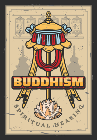Buddhism flag symbol with ribbons and lotus flower. Spiritual prayer wheels and Oriental religion with buddhists temple silhouettes. Vector