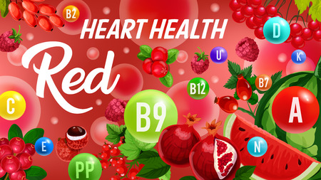 Fruits and berries, red color detox diet, vector vitamin icons in bubbles. Vitamins A, B and D with minerals heart health. Watermelon and pomegranate, gooseberry, raspberry, cranberry and currant Illustration
