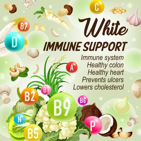 White day of color diet immune support. Vector vegetable and nut, vitamins B, C and D with minerals symbols in bubbles. Cauliflower and coconut, cabbage and mushroom, ginger and cashew, beans and rice Ilustracja