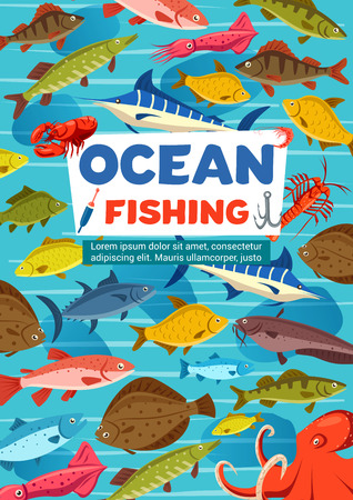 Fishing sport vector poster with fish from ocean and octopus. Carp and tuna, mackerel and pike, salmon and herring, trout and marlin. Oceanic octopus and crayfish or lobster, squid and crucian