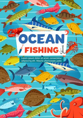 Manifesto di vettore di sport di pesca con pesce dall'oceano e polpo. Carpa e tonno, sgombro e luccio, salmone e aringa, trota e marlin. Polpo oceanico e gamberi o astice, calamari e carassio Vettoriali