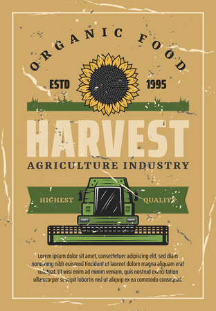 Agriculture industry, harvester or combine and sunflower bud shabby vintage brochure. Vector field, sunflower and machine. Farming theme, autumn harvest