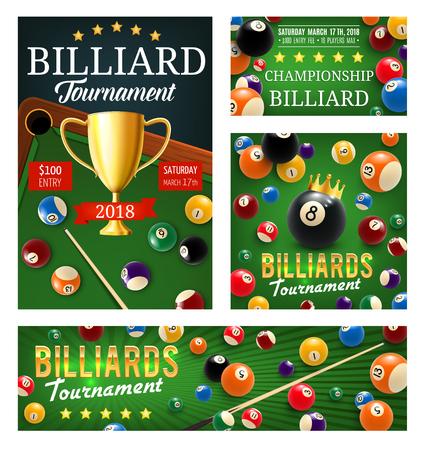 Affiche du tournoi de billard de billard, boules de couleur et coupe du trophée en or, queue et trous dans la table verte. Tournoi de championnat de billard de vecteur. Sport ou jeu de précision avec mises et jeux d'argent