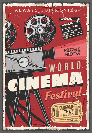 Cinema or movie festival retro poster. Vintage video camera with film reels and golden tickets, clapperboard or clapper, night show. Entertainment with motion picture on big screen, old camcorder Stock Vector - 111200762